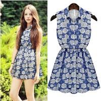 2014 summer denim skirt slim waist shirt collar sleeveless one-piece dress women's
