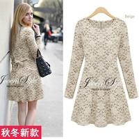 2014 autumn and winter women long-sleeve dress plus size fashion basic lace skirt