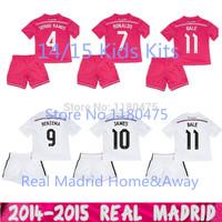 2014/2015 Real Madrid Kids Kits Home Away Goal Keeper Children Jerseys Suit NAVAS Ronaldo JAMES Bale KROOS ISCO CASILLAS RAMOS