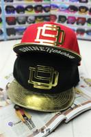 Metal D 9 black  Leather Fashion Hip-Hop Snapback Cap Bboy Club Swag hats