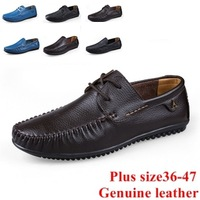 Free shipping 36-47 genuine leather black brown blue 3 color plus size shoes men loafer fashion driving shoes