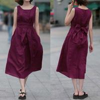 2014 linen skirt fluid women's vest full dress vintage solid color one-piece dress