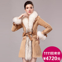 2013 fur genuine leather fur female one piece design long fur outerwear leather clothing