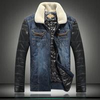 2014 new high-end fashion denim padded wool collar stitching men's casual cotton denim jacket winter coat large size M-5XL