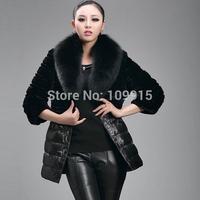 Brand newLuxury Women Jacket Fox Faux Fur Leather Outerwear Long Sleeve Coat