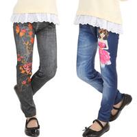 2014 spring and autumn female child trousers faux denim print elastic legging children's clothing child casual pants