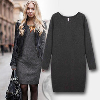 Bestselling Women Winter Dress 2014 New Fashion Pure Color Casual Dress Long Sleeve Autumn Dresses 3XL Vestidos