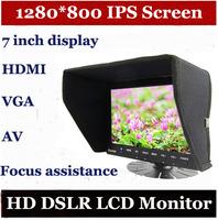 "7"" TFT  IPS Screen HDMI LCD On Camera Monitor with Sun Shade for Canon Nikon Sony Panasonic BMCC BMPCC DSLR Cameras"
