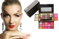 New Arrived Pro 34 Color Makeup Palette15 Eyeshadow + 15 Lip Gloss +2 Foundation powder+2 Blush Makeup Set 01#  Free Shipping
