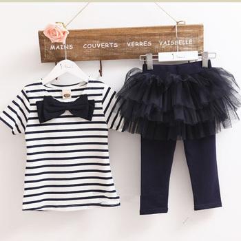 Комплект для девочек из двух две части полосы-лук футболка + юбки леггинсы прекрасный ...