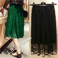 Women vintage high waist lace skirt autumn winter tutu skirt midi skirts female saias femininas black / green