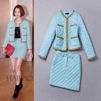 Best Grade New Celebrity Fashion Skirt Suit Autumn Winter Women Cotton Parka Jacket Coat+Warm Skirt (1Set) Clothes Suit Ladies