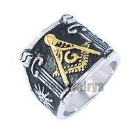 Free shipping! Freemasonry Masonic Ring Stainless Steel Jewelry Masonic Ring Gold Plated SWR0019G