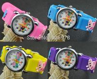 NEW 3D Cartoon Lovely Kids Girls Boys Children Students Peppa pig Quartz Wrist Watch Very Popular watches