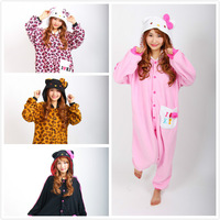 Novelty Anime Hello Kitty Leopard Kitty KT Cat Onesie Cosplay Pajamas for Women Men Adult Unisex Christmas New Year Costumes