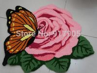 1 Rose with Yellow Butterfly Carpet Chrismas Floor Mat bathroom rug Handmade Rug Anti-slip  Carpet  Kitchen Area Rugs,flower Rug