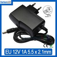 New 12V 1A AC100-240V input plugtop converter US EU plug power charger adapter DC 5.5*2.1mm