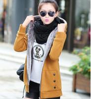 Hot Sales!New 2014 Women Thicker Hoodie Sweater Zipper Over Coat Fleece Zip Outerwear M-3XL 5Colors