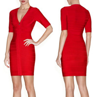 Style Number D1163 deep v-neck short sleeve red cheap sexy tight mini dresses