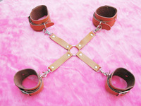 Foot &Hand Cuff Restraint Belt Raise Her Buttock Bondage Sex Toy Product Cow Leather