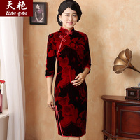 Day colourful autumn and winter special elegant elegant slim silk velvet red cheongsam three styles