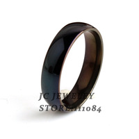 20pcs/lot Wide 6mm Pure black rings 316L Stainless Steel finger ring for men jewelry Free shipping wholesale