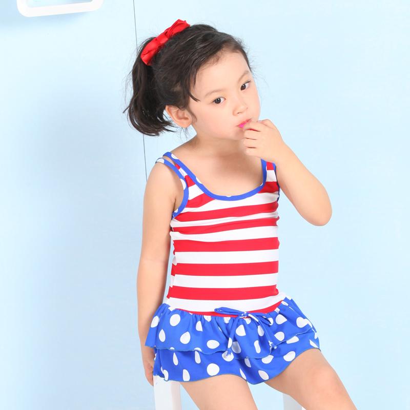ildren's swimsuit beautiful navy wind female child conjoined skirt type swimsuit lovely fringe female baby swimming suit(China (Mainland))