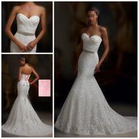 High Fashion Sweetheart Crystal Belt Mermaid Wedding Dresses with Court Train vestido de renda Wedding Dress 2014