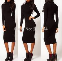 2014 New Fashion Elegant Full Sleeve Vintage Pinup Charm Temperament Slim Formal Dress Party Pencil Stretch Work Wear