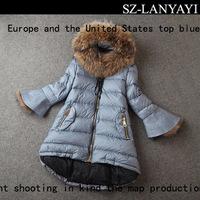 Long Down Jacket Woman 2014 Winter Fashion Raccoon Fur Collar A - Line Type Flare Sleeve Medium-long Down Outerwear t2461