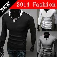 2014 fashion man t-shirts plus size slim long sleeve fitness t-shirt men tee shirts casual t shirt clothes clothing 827LP