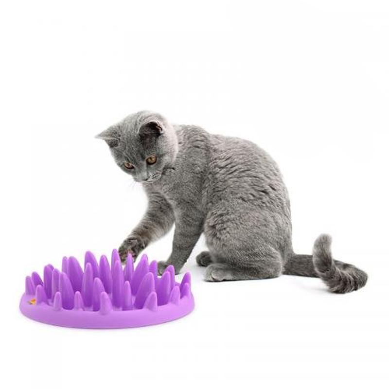Catch Interactive Hard Silicone Cat Kitten Pets Slow Food Feed Non Slip Anti Gulping Feeder Bowl(China (Mainland))