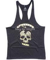 2014 High Quality Cotton Mens Skull GymTank Top Vests Bodybuilding Singlets Shirt Stringer Sport  Fitness Vest Free Shipping