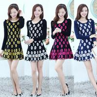 Women's fahsion beautiful flower design dress high quality material elegant dress Promotion item free shipping