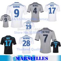 14/15 Marseille Customized Jerseys Thai Quality Home Away 2nd Black Gray Shirts Olympique de Marseille GIGNAC CHEYROU MENDES