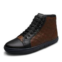 New arrival Size39-47 Black+Brown Lace-Up snow boots men, men winter shoes, genuine leather platform boots