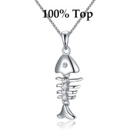 Min Order 9! Exquisite White Gold Plated Fish Bone Pendant Necklace Jewelry