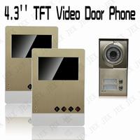 New luxury gold acrylic panel 4.3 inch  Video Door Phone Doorbell  Security Entry Intercom System doorphone 1V2