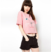 A14*Women's New Arrival Kitty Printed Short-sleeve T-shirts Pink Color Cute Girl's Tops&Blouses Sexy Casual Short Cropped Tops