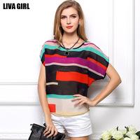 2014 casual T shirt women's short sleeve Stripe Shirt big yards loose colorful striped Chiffon shirts irregular blouses T007