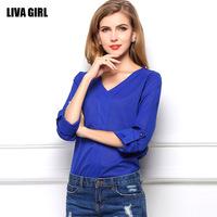 2014 new Autumn V-neck women's shirt long-sleeved chiffon shirt badges loose shirt blouse shirt big yards C1364