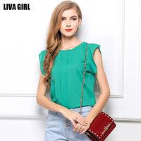 2014 New women's T shirt summer sleeveless loose big yards chiffon shirt solid color chiffon blouses 4 colors 4 sizes T1214