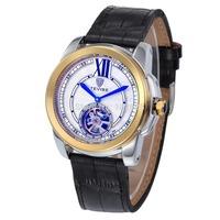 2014 Brand TEVISE mechanical watch Tourbillon watch men's leather Automatic Self-Wind watches Luxury Retro men Wristwatches