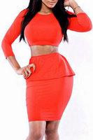 2014 New Sexy Autumn dress Vestidos Sexy Red Bodycon Two-piece Three Quarter Sleeve  Ruffled High Waist Dress Set  LC21806