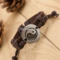 Chinese Style Jewellery pulseira masculina Taiji Accessories Genuine Leather Handmade Bracelets Men Women pulseira de couro