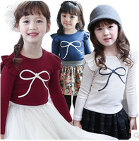 Free Shipping 2014 Korean Fashion Long Sleeve Cotton Tshirt For Girls Kids Candy-colored Shirts Top And Tees /Baby Girl T-shirts