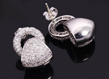 Female Fashion Marriage Jewelry Stud Earrings Platinum Plated Environmental Friendly Cubic Zirconia High Quality Free Shipping