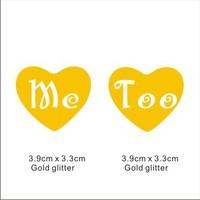 Popular glitter Shoe Sticker for Wedding Shoes -Me Too in heart gold  glitter Shoe Sticker