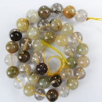 Q0861 Free Shopping Beautiful Trendy Mix Rutilated Quartz loose bead (10mm)1 strip