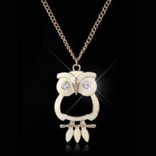 Owl Necklace 2014 Women Casamento Valentine Day Birthday Anniversary Gift Colares Femininos Woman Jewelry Rhinestone Necklaces(China (Mainland))